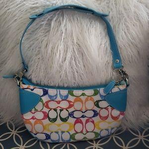 Coach bag purse rainbow blue